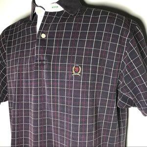 Tommy Hilfiger VTG Crest Embroidered Plaid Polo Sh